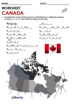 Free printable PDF lesson plans, word banks, quizzes and games-Canada North America Geography, Canadian Quilts, Geography Worksheets, Grammar Quiz, Senior Center, Canada Day, Activity Sheets, Color Activities, Grade 3