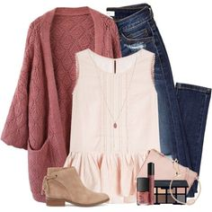 Knit cardigan, pink ruffled top & distressed jeans by steffiestaffie on Polyvore featuring Velvet, Chicwish, Sole Society, Burberry, Kendra Scott, NYX, Smashbox and NARS Cosmetics