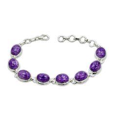 """""""Wild Purple"""" Rare Charoite & 925 Sterling Silver Bracelet"""