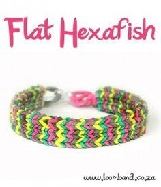 Flat Hexafish loom band bracelet tutorial