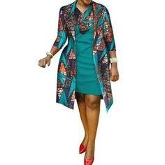 African cotton wax Print Dress and Suit Coat for – Afrinspiration African Print Dress Designs, Fashion Looks, Dashiki, African Dress, African Fashion, Mantel, Designer Dresses, Kimono Top, Suits