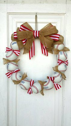 Baseball Wreath - Perfect baseball decor for the avid fan! Made with REAL baseballs! Coach's Gifts- MLB- Softball- Baseball Team - Lilly is Love Baseball Wreaths, Sports Wreaths, Baseball Crafts, Baseball Party, Baseball Mom, Baseball Scoreboard, Baseball Girlfriend, Baseball Signs, Baseball Birthday