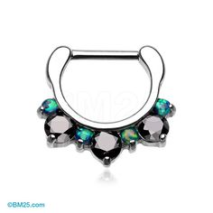 Black Fire Opal Multi Gem Sparkle Deuce Septum Clicker