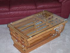 Nautical Coastal vintage lobster trap coffee table repurposed into table. Turn trap upside down ...