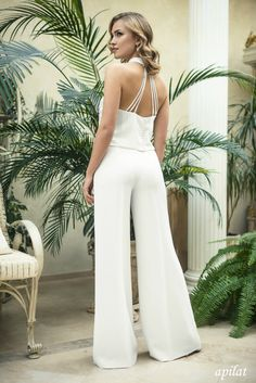 Modern Two Piece Trouser Wedding Suit L23, Wedding Trousers, Wedding Top, Classic bridal dress, Modern Wedding, Different Kind of Wedding jumpsuit ApilatWedding