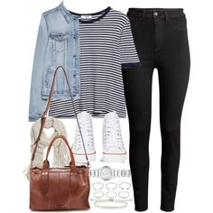 Outfit for college with black jeans and Converse by ferned on Polyvore featuring MANGO, H&M, Converse, Frye, Burberry, Forever 21, Monica Vinader and With Love From CA
