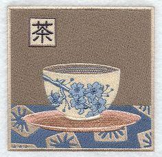 Japanese Teacup and Kanji - embroidery
