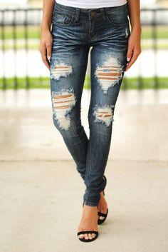 Dark Denim Destroyed Skinny Jeans