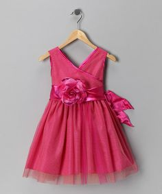 Take a look at this Chic Baby Fuchsia Flower Surplice Dress - Toddler & Girls by Chic Baby on #zulily today!