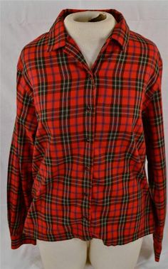 Crazy Horse Liz Claiborne Ladies Size Large Long Sleeve Plaid Blouse