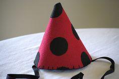 felt ladybug party hat