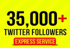 ★ONLY $5!★24H SERVICE - PERMANENT FOLLOWERS★ ✔ I will add 35,000+ real looking foIlowers to your twitter account within 24h guaranteed! ✔ Absolutely no risk for your account. ✔ I don't need your password, only your twitter username. ✔ All fo