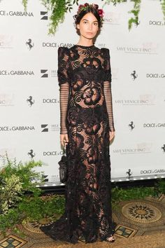 Lily Aldridge wearing Marc Jacobs SS14 sequined runway gown at the Save Venice Charity Ball