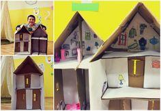 Kids cardboard house activity -   Preschool Kids