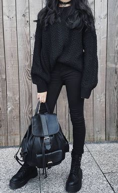 115 ways to look stylish wearing grunge outfits page 25 Edgy Outfits, Mode Outfits, Korean Outfits, Grunge Outfits, Fashion Outfits, Black Outfit Grunge, Black Grunge, Edgy School Outfits, Black Sweater Outfit