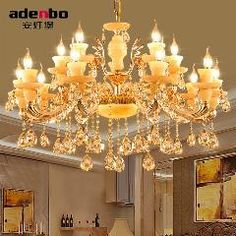[ $29 OFF ] Modern Simulated Jade Luxury Led Crystal Chandeliers Lights With 6 Arms 8 Arms 15 Arms And For Living Room Lighting (Adb2056)