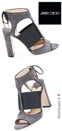 Jimmy Choo | Pre Fall 2015 -  Moira Suede Ankle-Tie Sandal, Black/Gray | Jamie B #shoelover