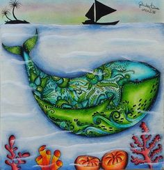 Colorido feito pela Gabriela Lima - baleia nao me coma por favor rsrs... Lindaaa...