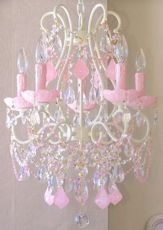 .5 Light Beaded Chandelier with Opal Pink Crystals Price: $699.00: