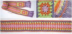 Bufanda con 2 cuadrados granny y una tira larga! #crochet