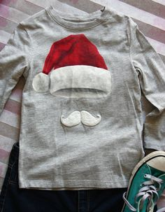 Hand-painted Girls Christmas T-Shirt, Girl Santa Hat and Mustache Shirt, Christmas Gift for Kids, Fluffy Moustache Tshirt, Unique Xmas Gifts H&m Brand, Puff Paint, Godchild, Toddler Gifts, Santa Hat, My T Shirt, Christmas Shirts, Gifts For Boys, Etsy Handmade