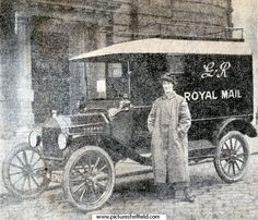Miss Norah Adamson of Sheffield the first lady in England to drive a Royal Mail van. She is seen outside the sheffield Post Office with the van of which she has had charge for the last three weeks Vintage Cars, Antique Cars, Vintage Dance, Buses And Trains, Sheffield England, Drive A, Commercial Vehicle, Royal Mail, Post Office