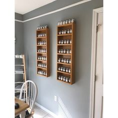 Latitude Run® Handcrafted by artisans right here in Sarasota, Fl. Can be mounted on the wall or side of a cabinet. This rack can also be mounted on a hollow core door such as a pantry door with special included fasteners. Clear acrylic dowels help hold things in on each shelf, while the inset back panel hides the wall behind the rack! Easy to mount on the wall with screws and anchors provided. Available in ten different heights, 2 widths, 3 depths and unfinished, pre-primed for painting, or… Spice Rack Wall Shelf, Spice Rack On Pantry Door, Wooden Spice Rack, Magnetic Spice Racks, Wall Shelves, Hollow Core Doors, Spice Organization, Spice Jars, Apartment Kitchen