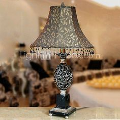 [USD $ 139.99] 40W Artistic Table Light with Retro Fabric Shade and Handcrafted Resin Lampstand