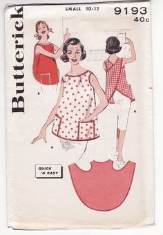 Butterick 9193 Vintage Pull Over Apron Ladies' Vintage Sewing Pattern. think i could do this without the pattern