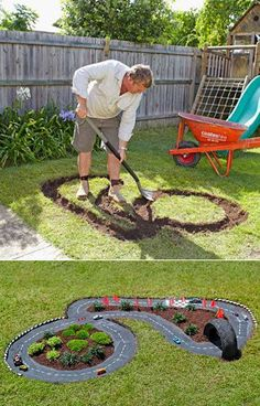 DIY Projects for Kids Inspired by Race Car Tracks 2019 Great way to get them playing outdoors! The road is cement which has been painted black. The post DIY Projects for Kids Inspired by Race Car Tracks 2019 appeared first on Backyard Diy. Diy Projects For Kids, Outdoor Projects, Diy For Kids, Cool Kids, Crafts For Kids, Kids Fun, Garden Projects, Backyard Projects, Diy Garden Ideas For Kids