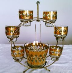 Mid Century Modern Vintage Culver Ice Bucket, Six Glasses, Ice Tongs, All in the Famous Ferris Wheel Caddy