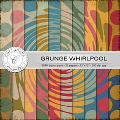 "Grunge Whirlpool Digital Paper Pack, 20 printable sheets, 12""x12"" Retro Swirl Spin Vintage colors green ocher beige red blue (S546) by collageva on Etsy"
