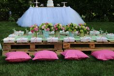 Mushroom Fairy Party Table Ideas. Love the pillows!
