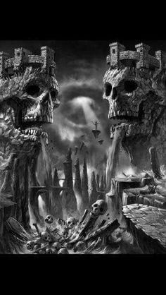 Just the castles Dark Artwork, Skull Artwork, Cool Artwork, Arte Horror, Horror Art, Skull Tattoos, Body Art Tattoos, The Crow, Totenkopf Tattoos