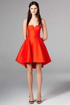 HALSTON HERITAGE Dress - One Shoulder Pebble Jacquard with Bell ...