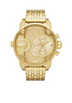Diesel Gold Mens Gold-Tone Stainless Steel Multi-Function Watch
