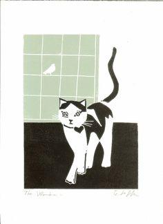 Cat Linocut Block Print Original Green by TheBluebirdGallery