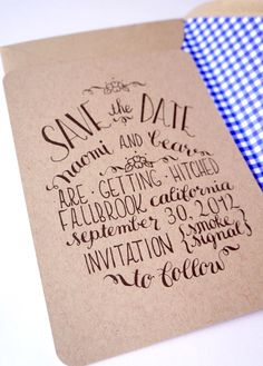 save the date on cardboard-like paper with a pattern on the inside of the envelope