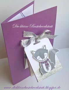 Stampin Up Geburtstagskarte Foxy Friends und Cozy Critters Pflaumenblau und Schiefergrau
