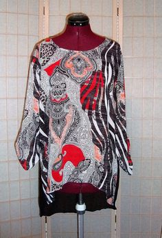 Chico's Sz 2 M 10/12 Multi Color Semi Sheer Paisley/Animal Print Tunic Top…