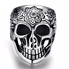 Punk/Floral Skull Ring Stainless Steel
