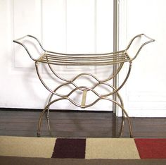 Vintage Bent Metal Wire Vanity Chair Bench Stool 1950\'s Hollywood ...