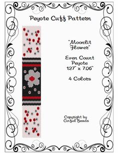 Peyote pulsera patrón, diseño de flores con perlas de Delica Miyuki 11/0