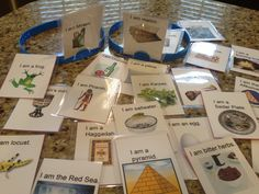 Headbanz game Passover style!  Made my own cards to use to add fun to the Seder.