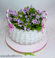 Dort marcipánový * narozeninový - košík s fialkami ♥