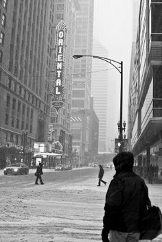 Chicago Oriental Theater on a Snowy winter day