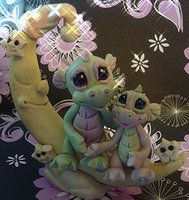 polymer clay dragons on moon by crazylittlecritters