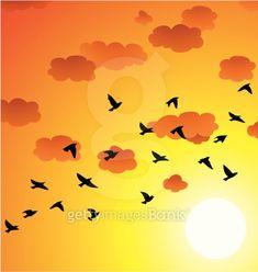 vector flock of flying birds