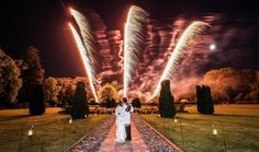 Evening fireworks at Hengrave Hall, Suffolk wedding venue
