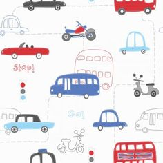 Fine Decor: Hoopla Rush Hour Hoopla Wallpaper Navy / White / Red